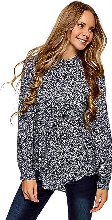 oodji Collection Mujer Blusa Estampada Larga de Viscosa