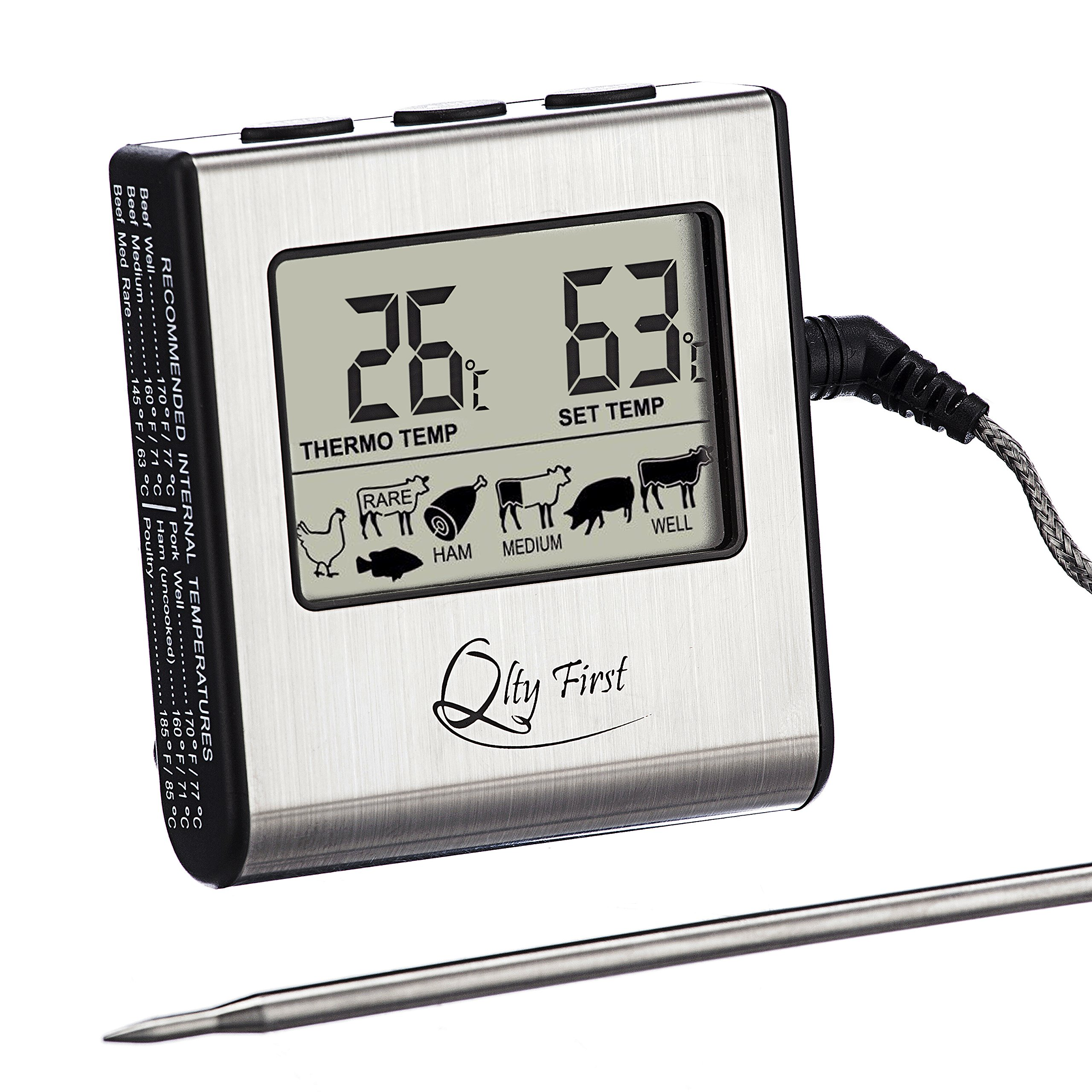 Qlty First Digital Meat Cooking Kitchen Thermometer - Stainless Steel Probe with Built-in Timer and Remote Alarm for Oven, Grill, BBQ, Stovetop smokers