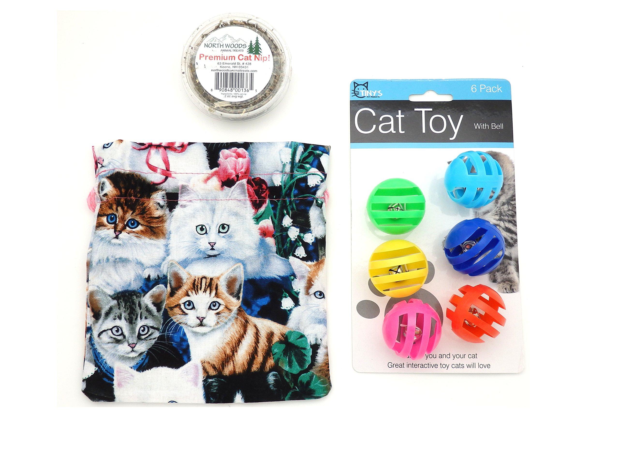 Catnip Cat Toy in Kitty Cat Kitten Fleece Drawstring Bag