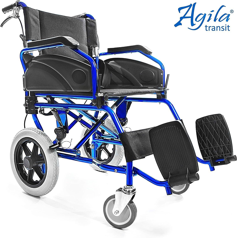 AIESI® Silla de Ruedas plegable Ultra-ligera de aluminio con freno para discapacitados y mayores AGILA TRANSIT # Doble sistema de frenado # Cinturon de seguridad # Garantía de 24 meses
