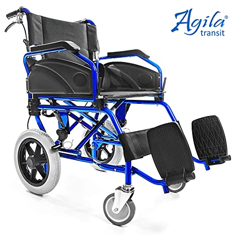 AIESI Silla de Ruedas plegable Ultra-ligera de aluminio con freno para discapacitados y mayores AGILA TRANSIT ✔ Doble sistema de frenado ✔ Cinturon de ...