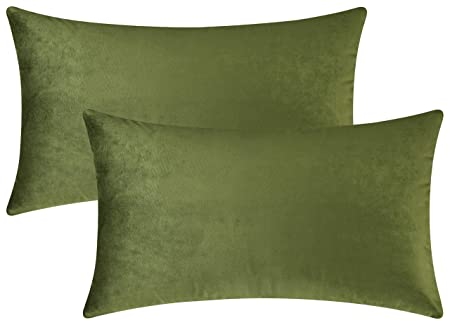 Mixhug Set Of 2 Cozy Velvet Rectangle Decorative Throw Pillow Covers For Couch And Bed, Moss Green, 12 X 20 Inches by Mixhug