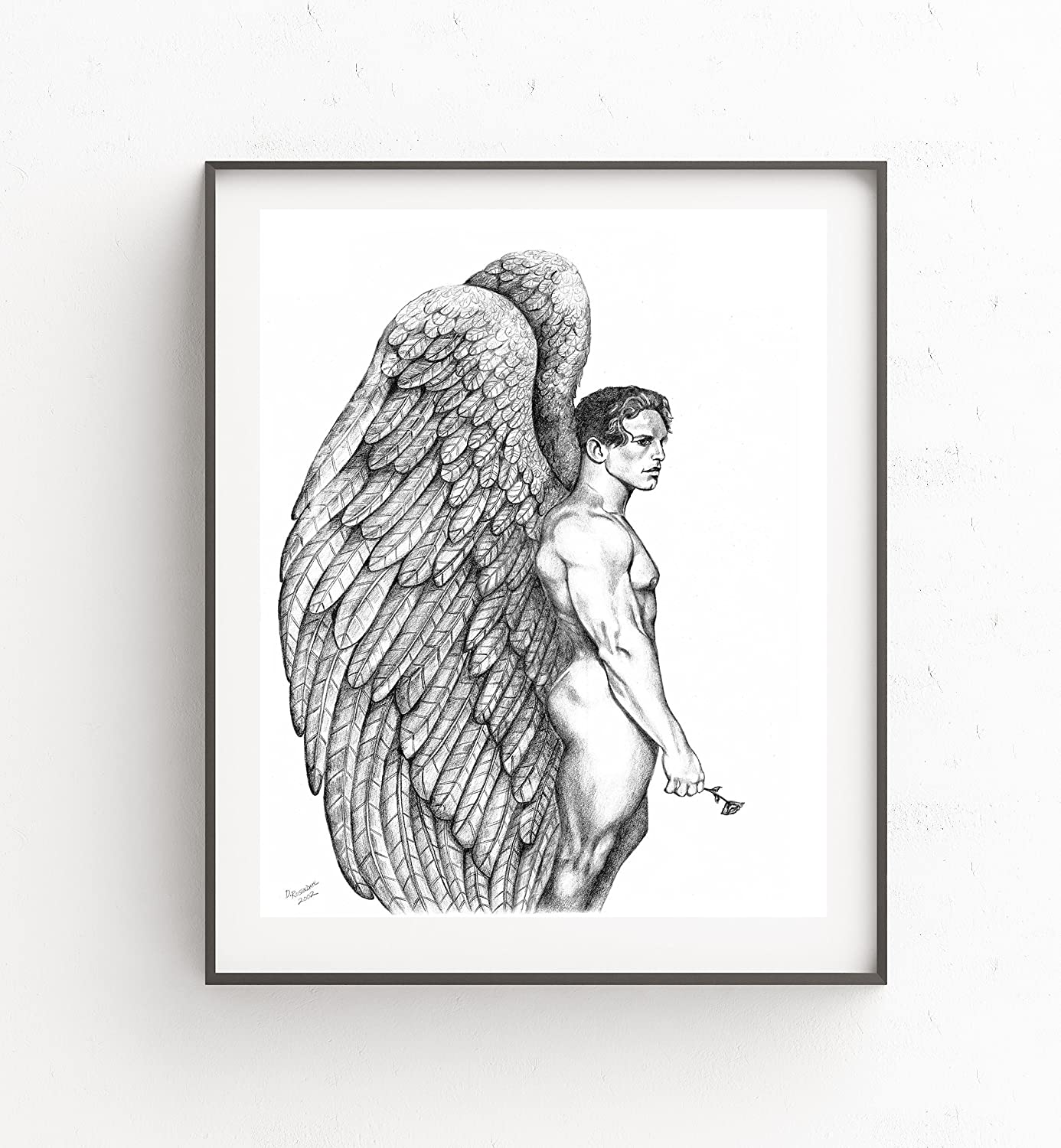 Amazon com gay male nude angel with rose fine art print by