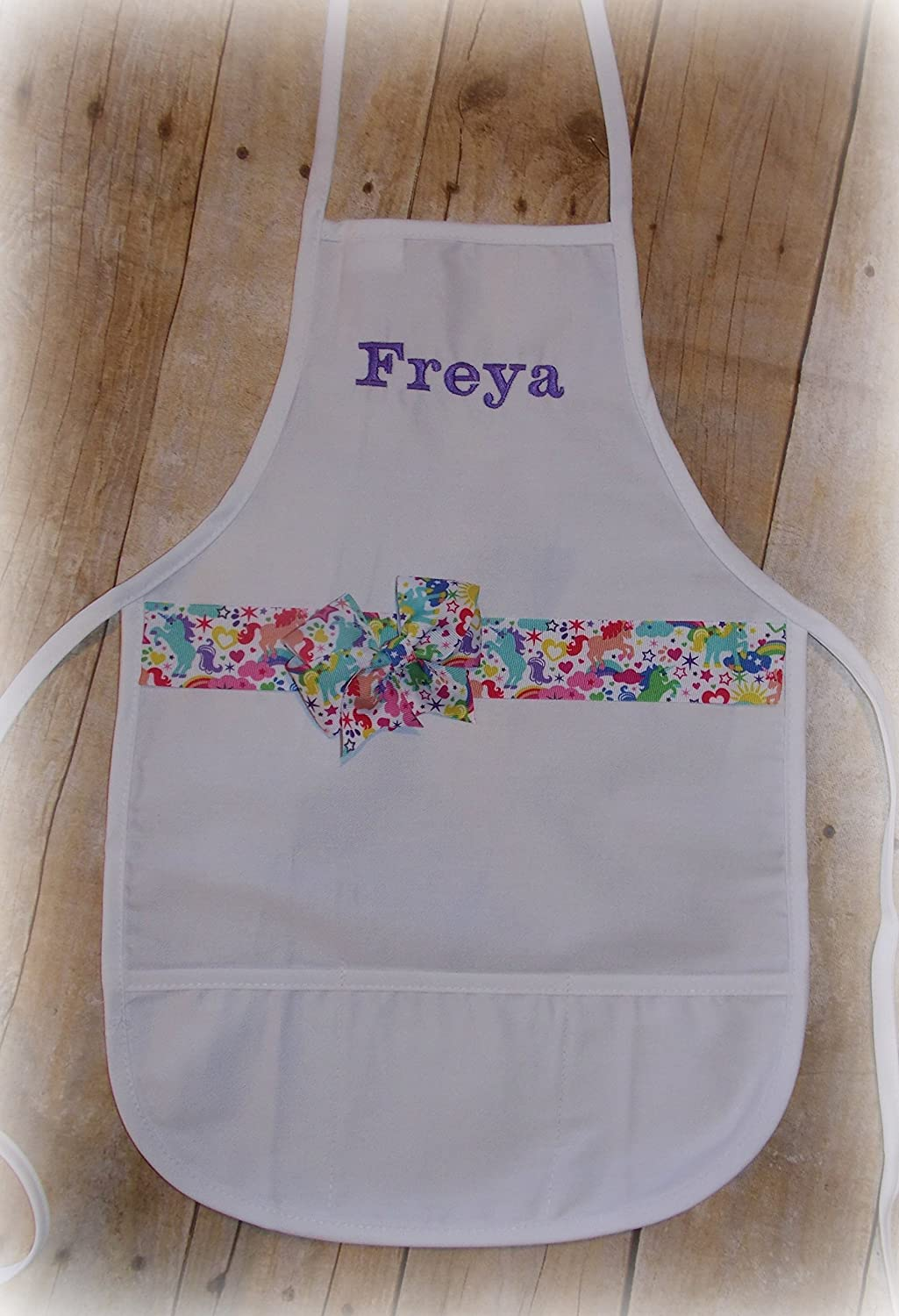 Toddler child unicorn rainbow ribbon embroider personalized apron with name