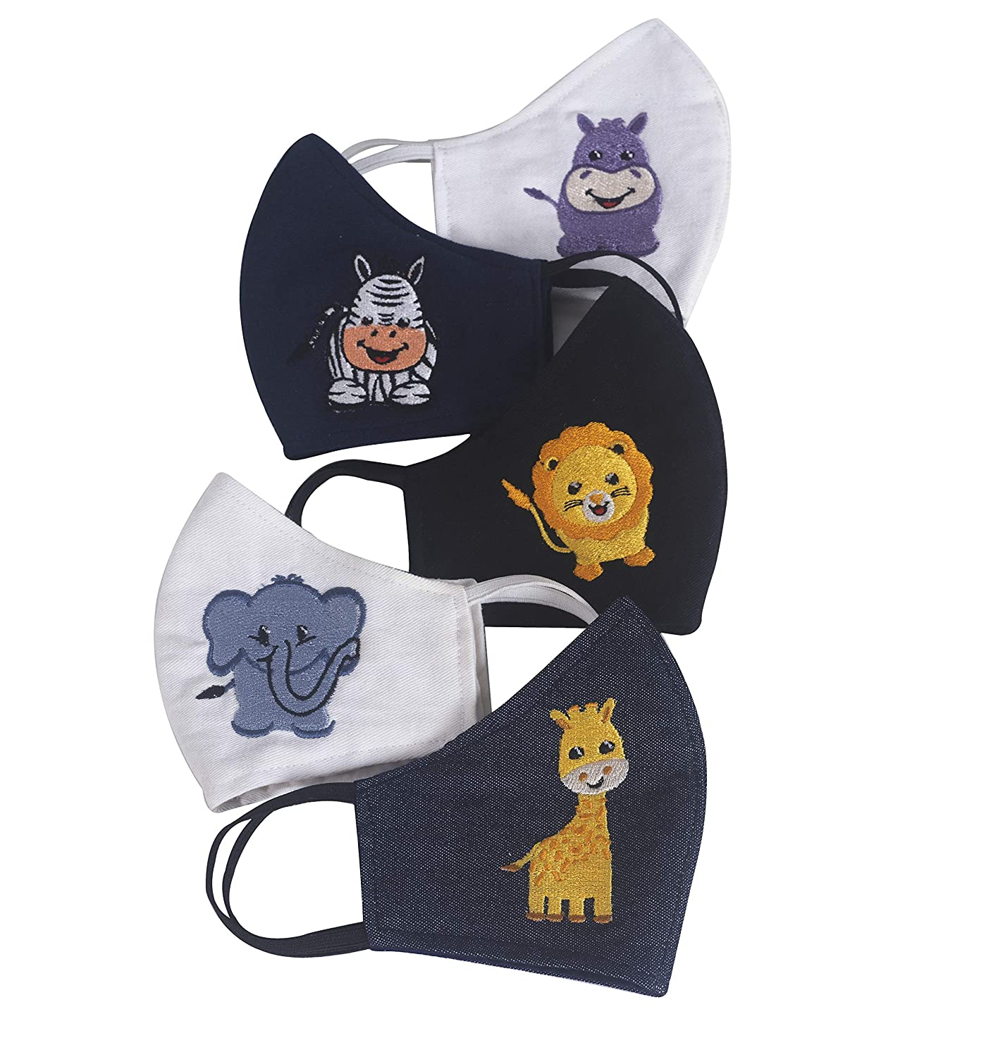Zardozi Creations 100% Cotton Breathable Embroidered Masks for Kids | Multicolor | Animals | Set of 5 (Small 2-4 Years)