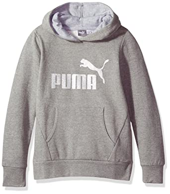 bed01f83f6f500 Amazon.com: PUMA Big Girls' Hoodie, Medium Heather Grey Small (7): Clothing