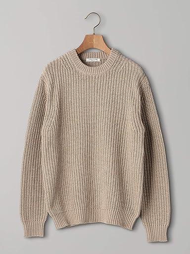 Chunky Cotton Crewneck Sweater 1113-106-4318: Beige