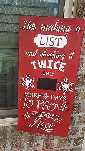 Countdown To Christmas Sign.Amazon Com Christmas Countdown Sign Handmade
