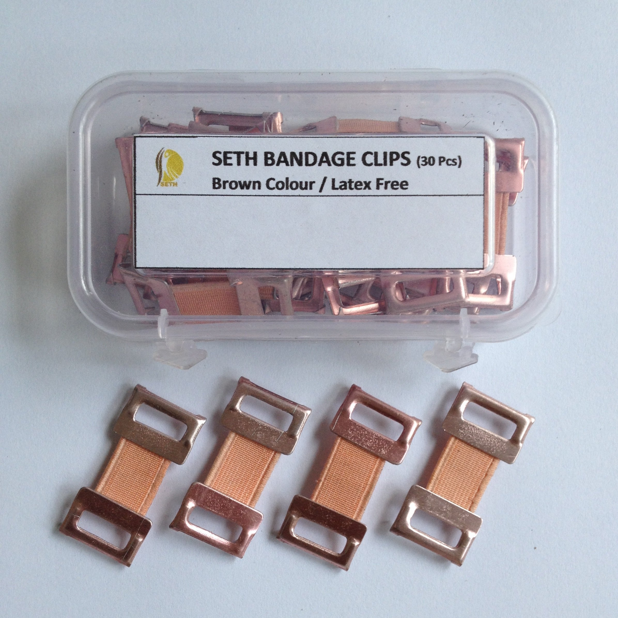 Seth-Premium Quality Replacement Elastic Bandage Clips for Elastic Bandages,Compression Bandages,Crepe Bandages,Cotton Bandages,Body Wrap Clips-Secure Elastic Fastener Clips (Pack of 30 Clips).