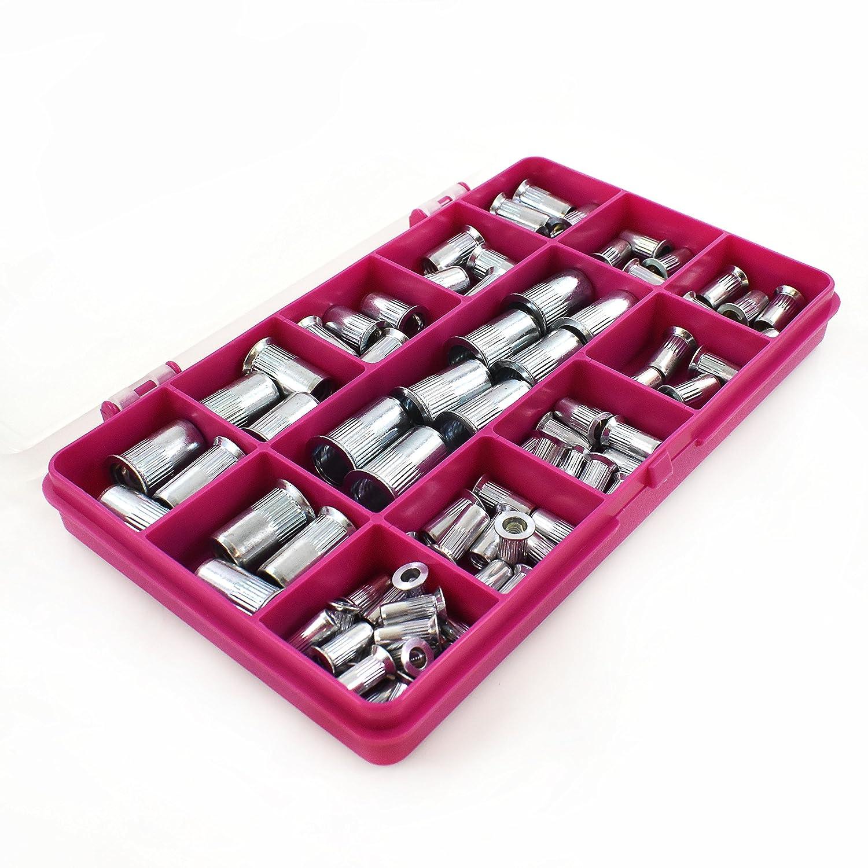 84 Piece Assorted Knurled Steel Countersunk Rivnut Kit Serrated Grooved Rivets Falcon Workshop Supplies Ltd