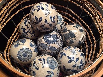 Amazon Com Beautiful Blue And White Ceramic Decorative Balls 10 1 2