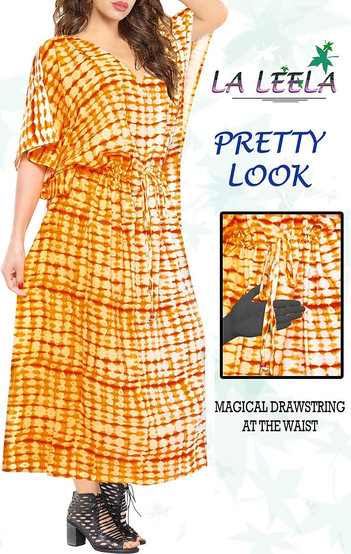 LA LEELA Femmes Rayonne Longue Kaftan Tunique Kimono Imprim/é Grande Taille Robe pour Loungewear Vacances V/êtement de Nuit Plage Tous Les Jours Haut Robes Maxi Caftan O