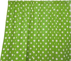 Zen Creative Designs Premium Cotton Polka Dot Curtain Panel/Home Window Decor/Window Treatments/Dots/Spots (36 Inch x 58 Inch, White Green)