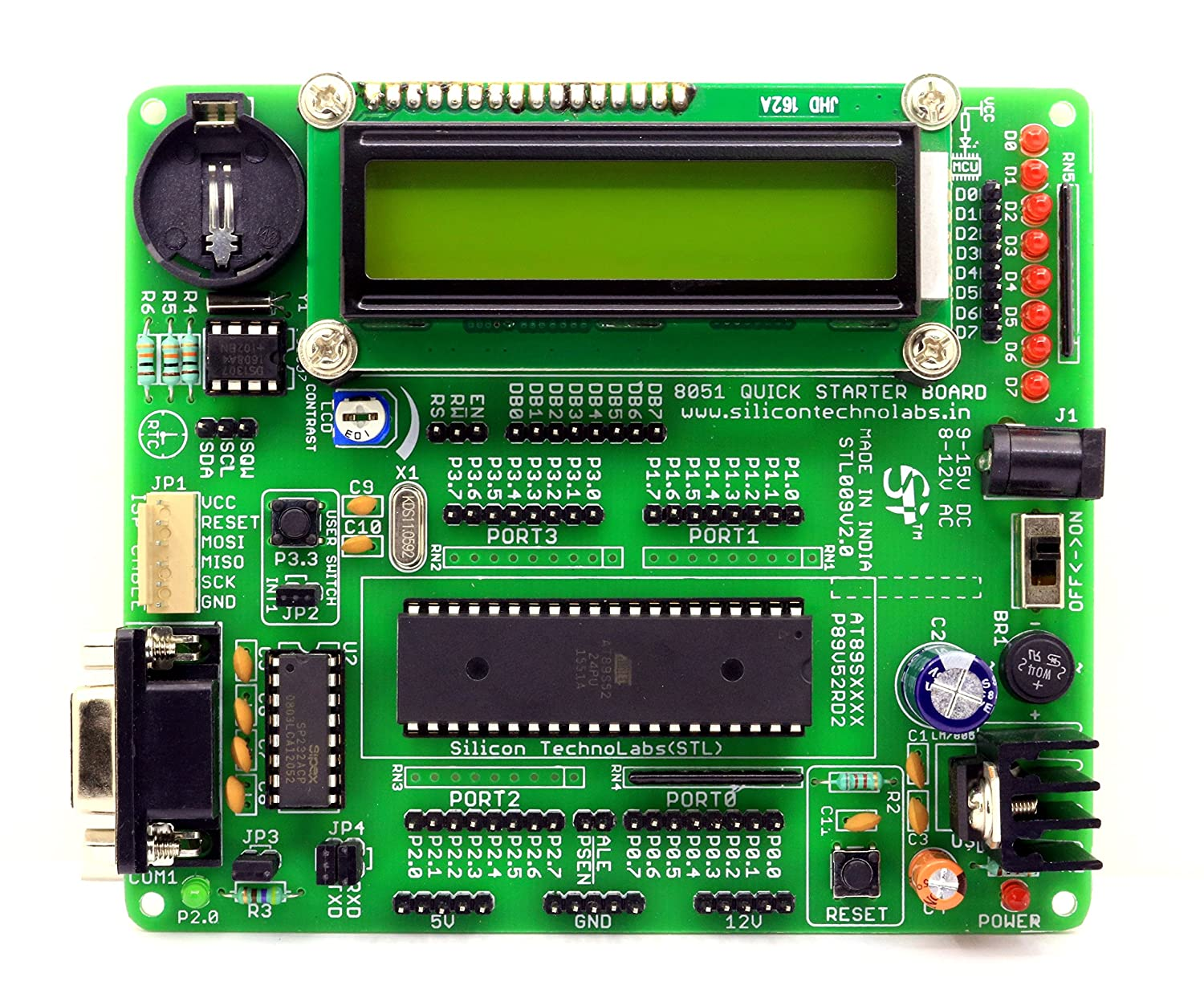 Silicon Technolabs Atmel 8051 Quick Starter Development Board And Usb Avr Programmer For Programming Many Atmega Tiny Classic Isp Kits Computers Accessories