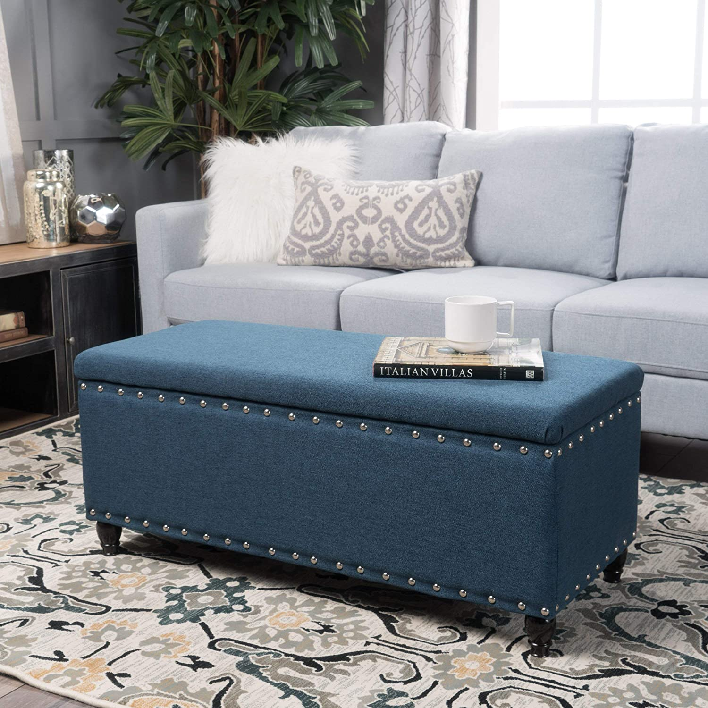 Christopher Knight Home Living Envy Deep Blue Fabric Storage Ottoman, Navy