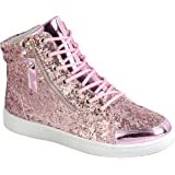 SNJ Women's Lace Up Glitter High Top Round Toe Fashion Sneaker