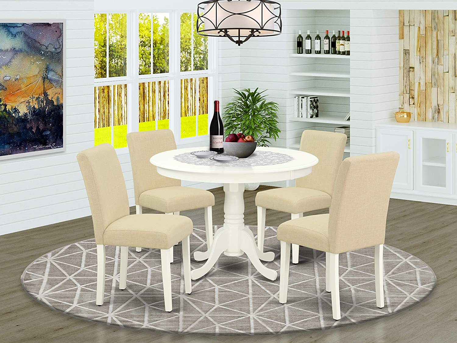 5Pc Round 42 Inch Dinette Table And Four Parson Chair With Linen White Leg And Linen Fabric Light Beige