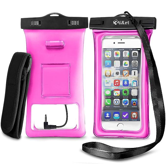 [Flotante] Funda Impermeable, Bolsa Impermeable Sumergible con Brazalete y Conector de Audio para todos los modelos de iPhone 6 6s Plus 5 5s se ...