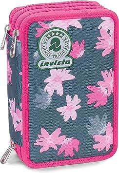 Estuche 3 Cremalleras Invicta , Painted Daises , Rosa , Pisos con Contenido: Lápices, Rotuladores ...: Amazon.es: Equipaje
