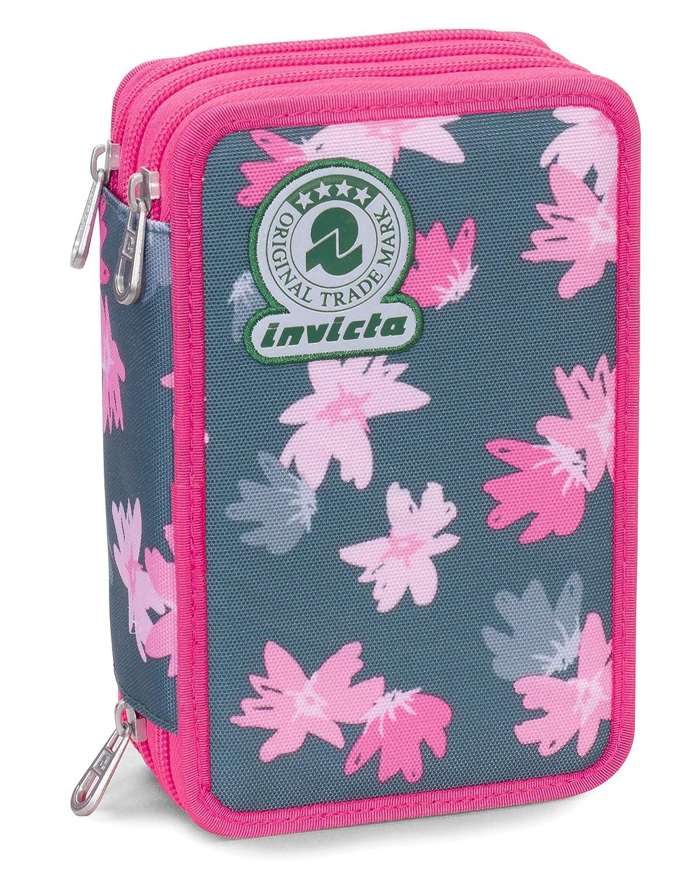 Astuccio 3 Zip Invicta , PAINTED DAISES , Rosa ,Con contenuto: matite, pennarelli... 306011805-FQ9