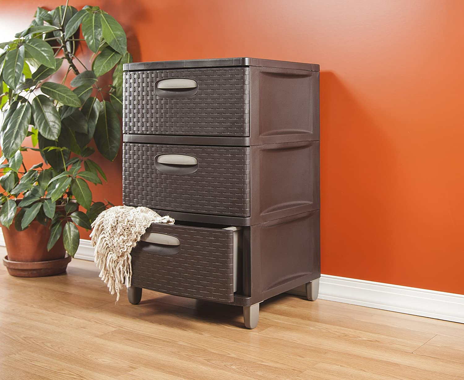 Amazon.com STERILITE 01986P01 3 Weave Drawer Unit Espresso with Driftwood Handles and Legs 1-Pack Home u0026 Kitchen & Amazon.com: STERILITE 01986P01 3 Weave Drawer Unit Espresso with ...