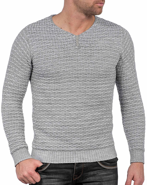 BLZ jeans - gray wool sweater collar buttons