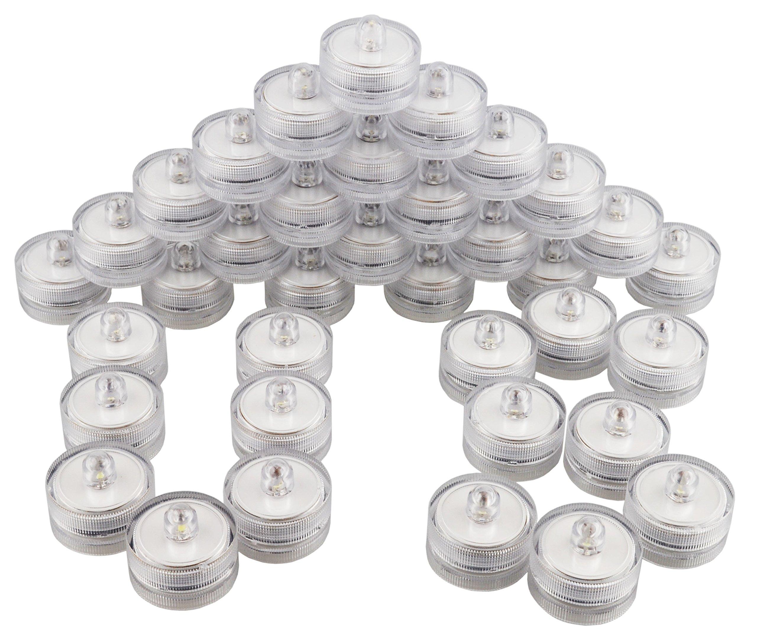 Samyo Set of 36 Waterproof Wedding Submersible Battery LED Tea Lights Underwater Sub Lights- Wedding Centerpieces Party Decorate (White) by Samyo (Image #6)