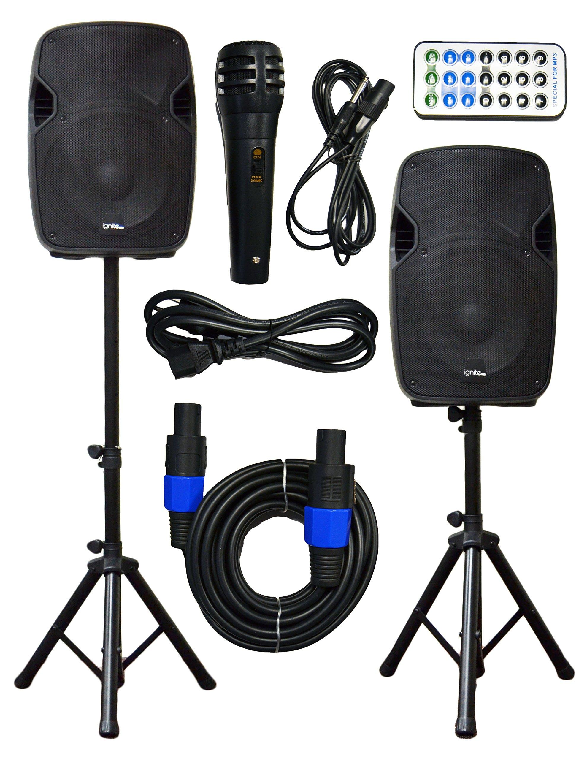 2x Ignite Pro 12'' Pro Series Speaker DJ / PA System / Bluetooth Connectivity 2000W (12'')