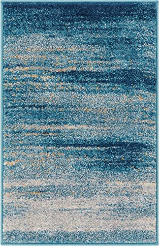 Well Woven Layla Stripes Blue Tribal Area Rug 20×31 20″ x 31″ Mat Soft Plush Faded Abstract Modern Carpet
