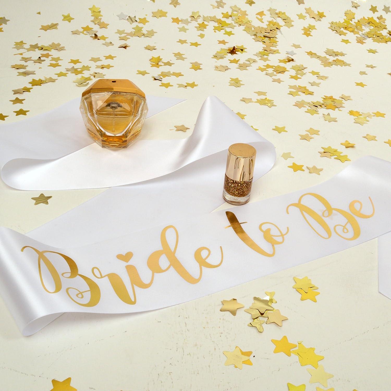 Banda para despedida de soltera, color blanco y dorado, para ...