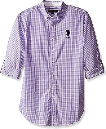 U.S. Polo Assn. Camisa Deportiva de Manga Larga para Hombre, diseño de Cuadros - Morado - X-Large: Amazon.es: Ropa y accesorios