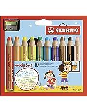 Crayon de coloriage - STABILO woody 3in1 - Étui carton de 10 crayons tout-terrain + taille-crayon