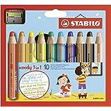 Stabilo Buntstift, Wasserfarbe & Wachsmalkreide woody 3 in 1 - 10er Pack mit Spitzer - mit 10 verschiedene Farben