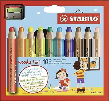 Crayon De Coloriage Stabilo Woody 3in1 Etui Carton De 10 Crayons