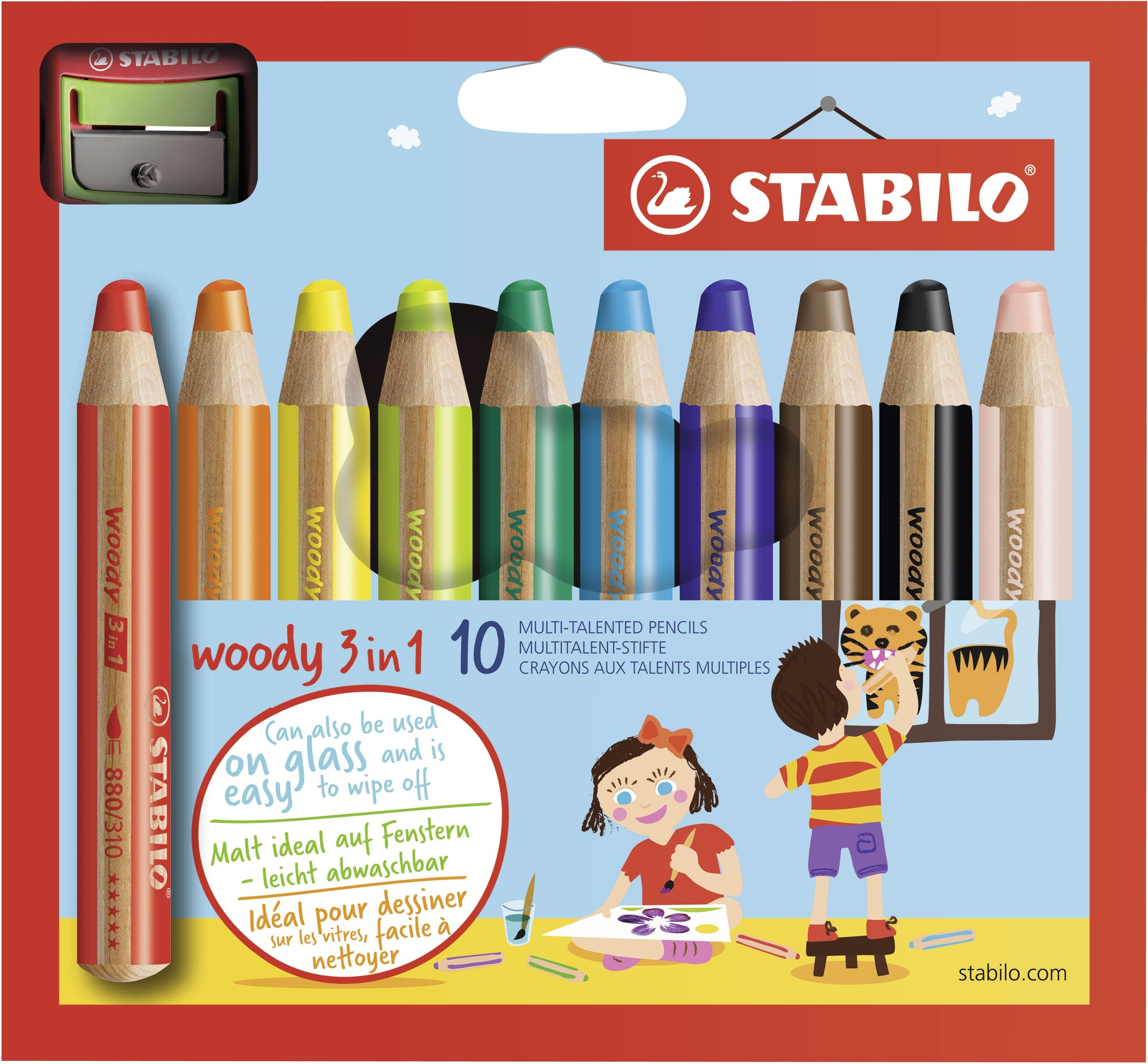 Stabilo Woody 3-in-1 Colored Pencils, 10 mm Lead - 10-Color Set