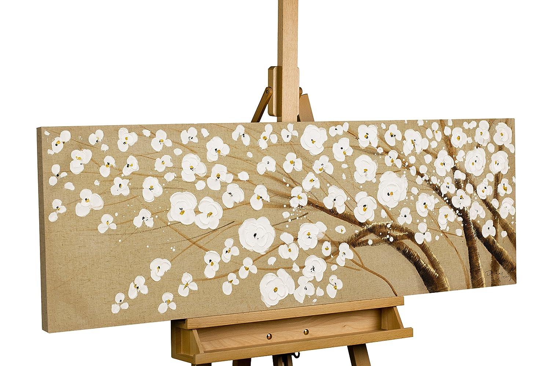 KunstLoft® Acryl Gemälde & 039;Baum des Vertrauens& 039; 120x40cm   original handgemalte Leinwand Bilder XXL   Baum Blüten Weiß Natur Ast   Wandbild Acrylbild moderne Kunst einteilig mit Rahmen