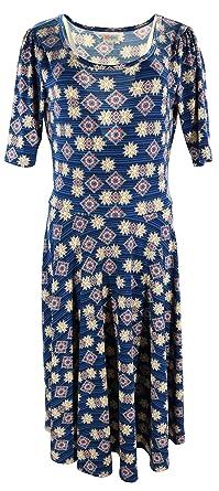 5b17eb51116 Lularoe Nicole (Large) Blue with red Patterns at Amazon Women s ...