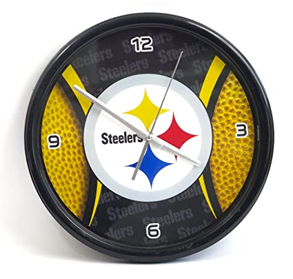 34cc0d5f Amazon.com: Pittsburgh Steelers Large Wall Clock. Ideal for Family ...