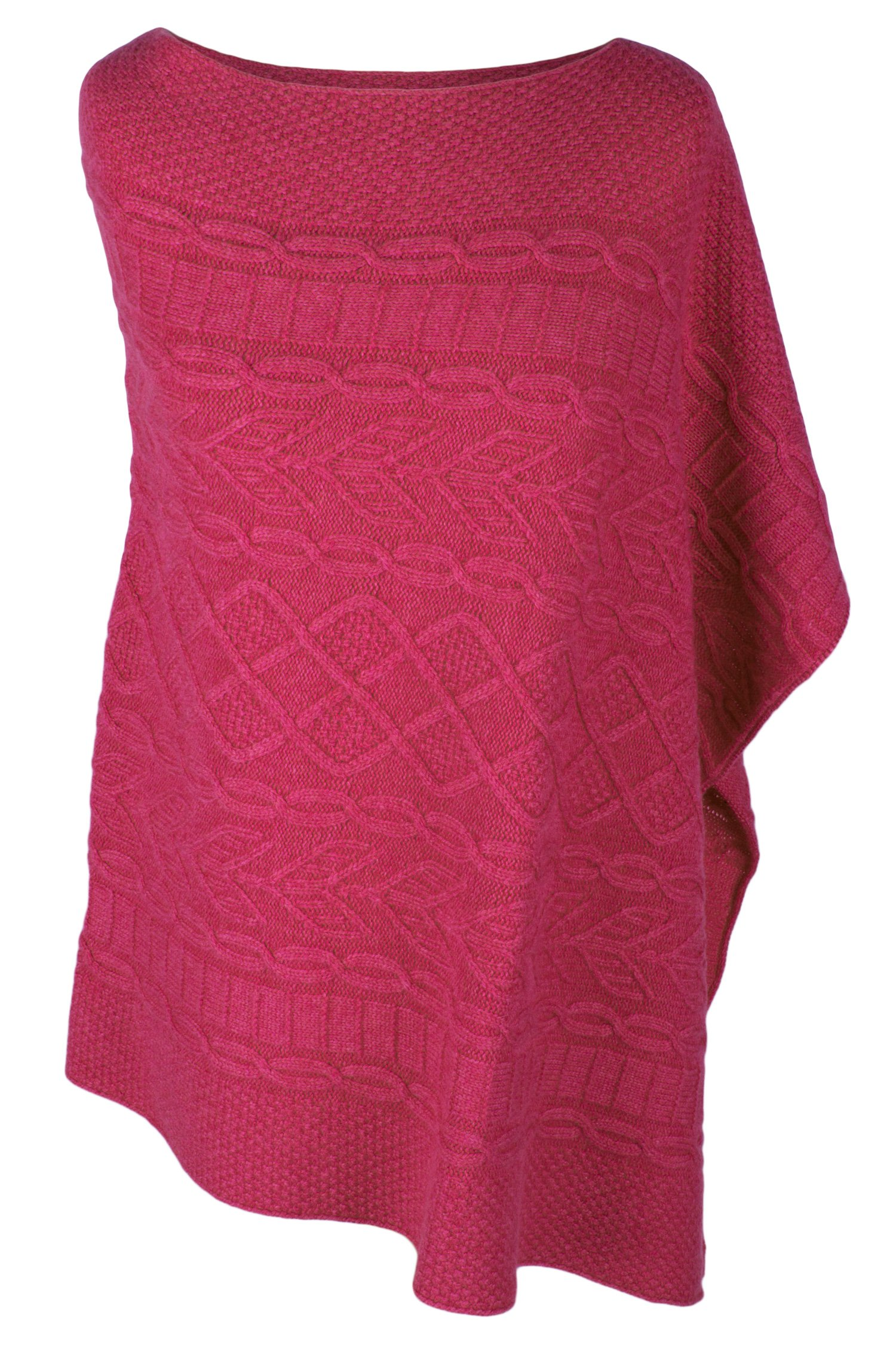 Love Cashmere Women's 100% Cashmere Cable Poncho - Fuchsia Pink - Made In Scotland by Love Cashmere (Image #1)