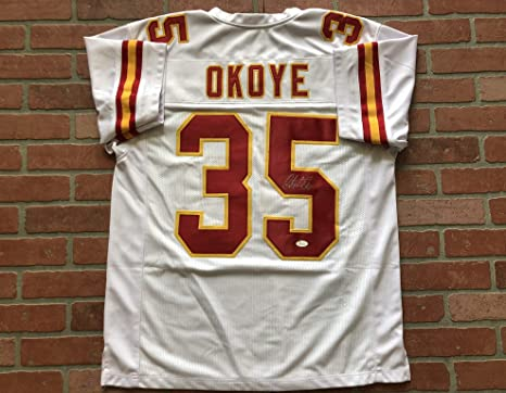 38f0208fa0d Image Unavailable. Image not available for. Color: Christian Okoye  autographed signed jersey NFL Kansas City Chiefs ...