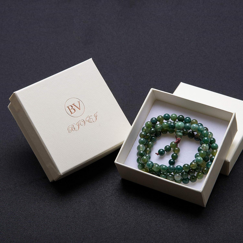 Bivei 108 Mala Beads, Moss Agate Gemstone Prayer Bead Bracelet Meditation Necklace anbivi11122157