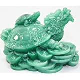 Feng Shui Green Dragon Turtle Wealth Protection Statue Figurine Housewarming Congratulatory Paperweights Gift Home Decor US Seller (Green Dragon Turtle Statue-SSG3201)