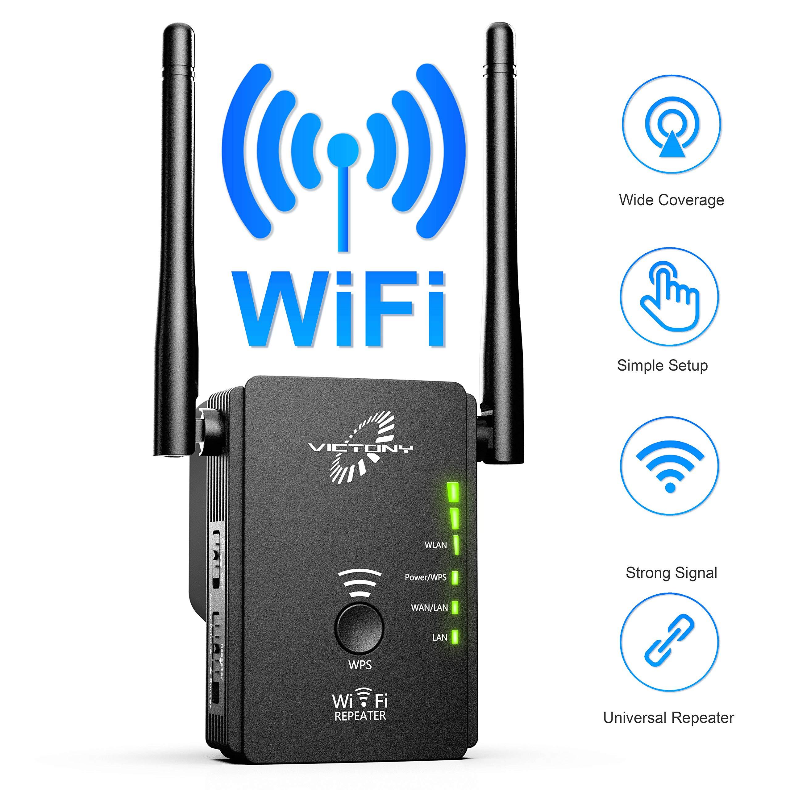 VICTONY 300Mbps Mini WiFi Range Extender 360 Degree Full Coverage External Antenna High Gain Dual Band Range Extender by VICTONYUS