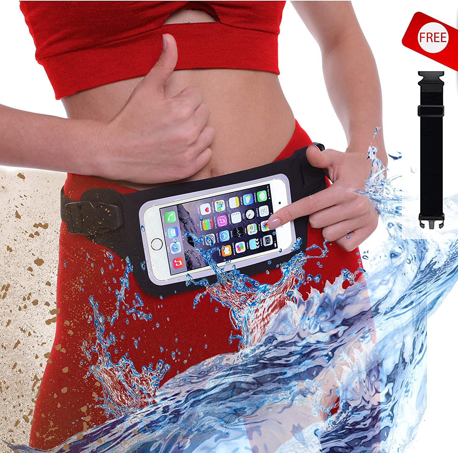 New Waterproof Running Belt Fanny Pack for iPhone 6 7 X 8 8 Plus Android Samsung – W Touchscreen Cover – IPX8 Rated Dry Waist Bag Pouch for OCR, Travel, Beach, Swimming, Kayaking, Rafting and More