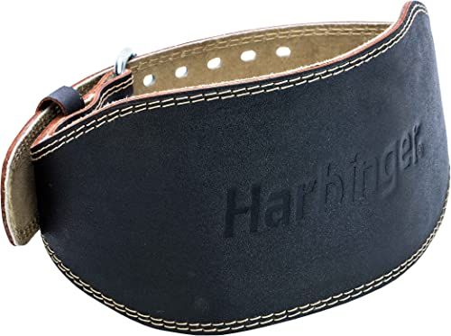 Harbinger Padded Leather Contoured Weightlifting Belt with Suede Lining and Steel Roller Buckle