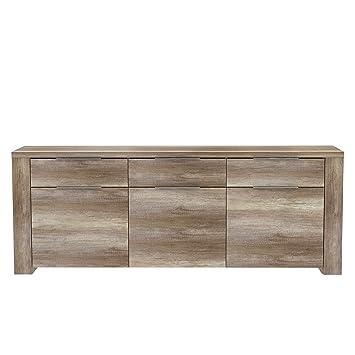 Newface Sideboard Mit 3 Turen Und 3 Schubkasten Holz Eiche Antik