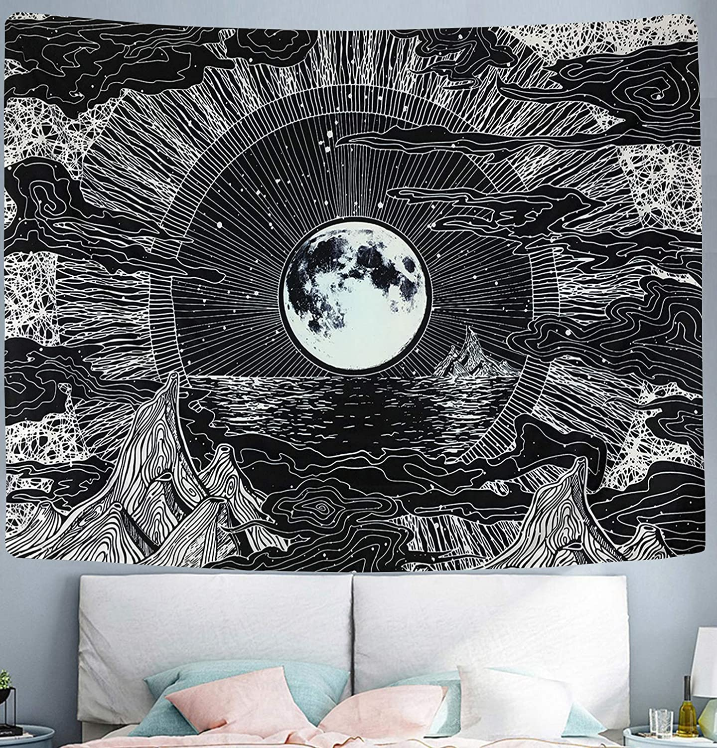 """Wekymuu Moon and Star Tapestry Black and White Tapestry Psychedelic Mountain Tapestry Wall hanging Clouds Tapestry Space Tapestry for Bedroom Dorm Room Decor (moon, 51.2""""x 59.1"""")"""