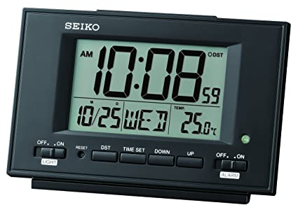 Seiko - Reloj Despertador LCD con Calendario y termómetro, plástico, Blanco, 9.5 x