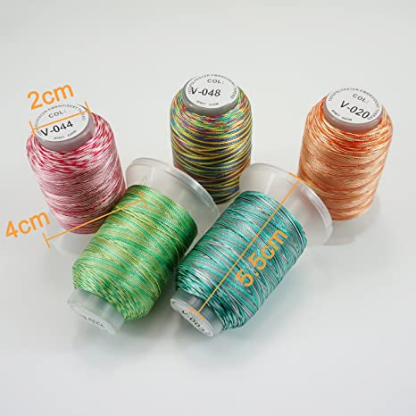 New brothread 50 Multi Colores 500M(550Y) Poliéster Bordado Máquina Hilo para Brother Babylock Janome Singer Pfaff Husqvarna Bernina Bordado Máquinas: ...