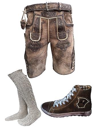 Herren Trachten Set Lederhose Hellbraun kurz mit Gürtel + Trachten Sneaker  Braun + Trachten Kniebund Socken  Amazon.de  Bekleidung 33f1e1f8bf
